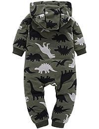Koly infantil bebé Niños niñas más gruesa Imprimir Romper con capucha mono Ropa de Niños de la técnica