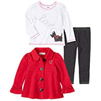 Kids Headquarters Baby Girls 3 Pieces Jacket Pants Set, Red/White, 24M