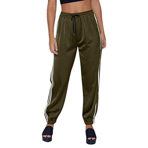 Pantaloni tagliati a righe laterali-sport fitness vita alta coste leggings -athletic pantalone -pantaloni casual estate e autunno - matita casuali moda eleganti pantalone(army green,m)