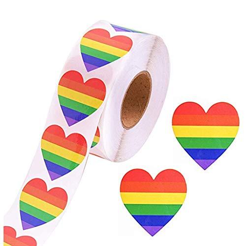 JunYe 500 Liebes-Regenbogen-Band-Aufkleber-Homosexueller Stolz 6 Farbstreifen-Herz-Form-Rollenband -