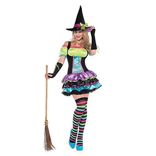 Kostüm für Erwachsene - Pop Bunte Hexe (Klein) (Bunte Halloween Kostüme Für Erwachsene)