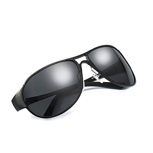 (Pilotenbrille Sonnenbrille Herren Polarisiert 100% UV400 Schutz Metallrahmen Leicht für Autofahren (Schwarz/Grau))