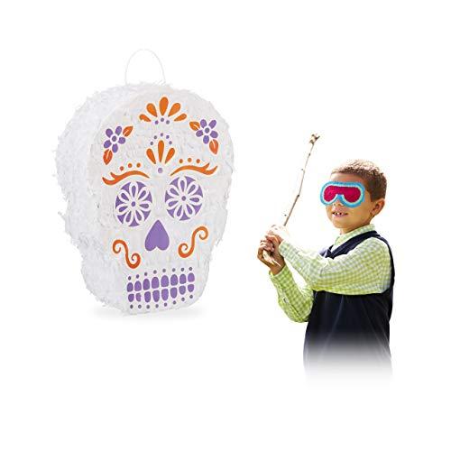 Relaxdays Pinata Totenkopf, zum Aufhängen, Tag der Toten, Halloween, Skull, zum selbst Befüllen, Papier, Piñata, weiß