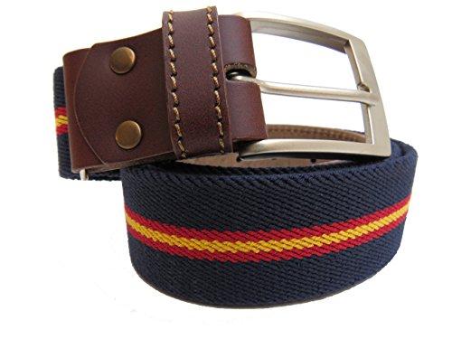 Legado Cinturón Hombre elástico color marino con bandera detalles en piel hecho en Ubrique CON PULSERA BANDERA ESPAÑA DE REGALO