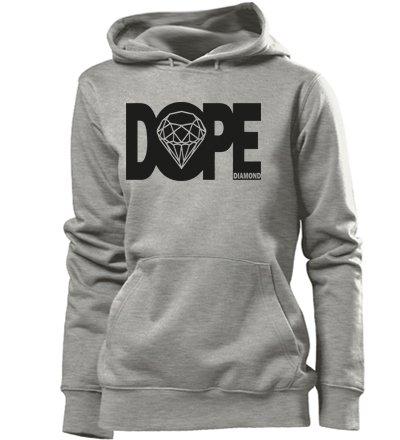 DOPE DIAMOND - Deluxe - Einfarbig - dope diamond Damen Frauen Hoodie Gr. S - XL Versch. Farben Grau / Schwarz