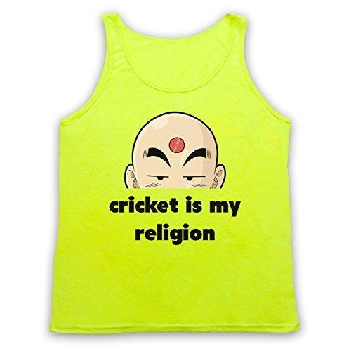 Cricket Is My Religion Cricket Slogan Tank-Top Weste Neon Gelb