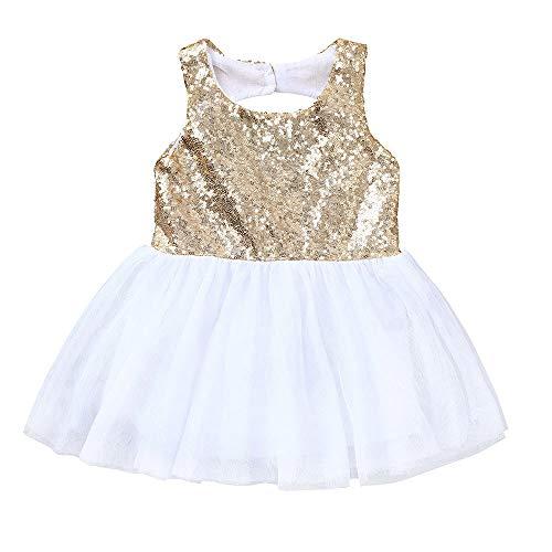 (jgashf Pailletten Netz Tutu Kleid für Mädchen Säuglings Baby Princess Dress ärmellose Kinder Kostüme Sommerkleid Kleidung(Gold,110))