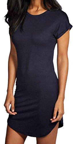 Damen Hip Länge gebogener Saum Rolle Sleeve Turn Up T-Shirt Kleid Uni Marineblau