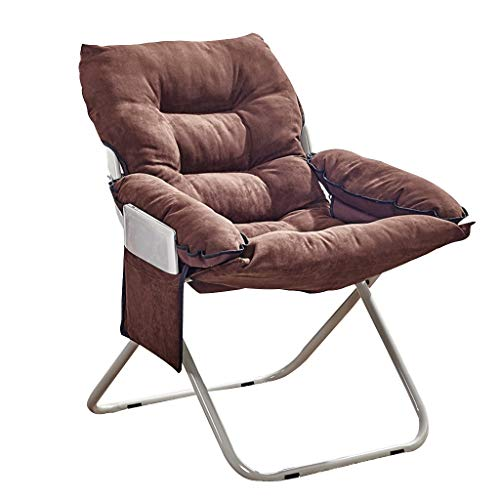 YUER Campingbett Sessel klappbar, Campingstühle gepolstert Liegender Gartenstuhl Strandliege Liegestühle aus Tweed Wetterfest (Color : Brown)
