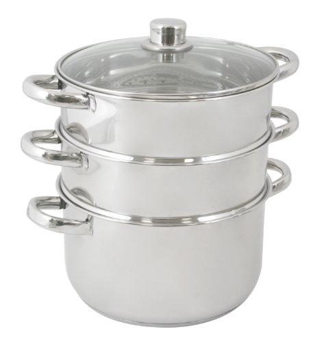 Crealys 502369 cuit vapeur 3 niveaux couvercle verre - Cuit vapeur inox pour gaz ...