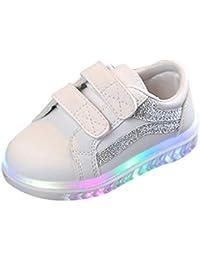 BBestseller Calzado Niños Lentejuela de imitación Luminoso LED Suave Terciopelo Botas Zapatilla de Deporte Zapatos Sneakers con Luces