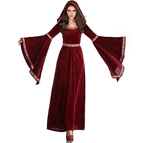 Plus Größe Kostüm Hexen - Europäische Retro Halloween Damenkostüm Plus Größe, Scary Vampire Hexe Dämon Kostümfest Bar Cosplay Outfit,Red,S