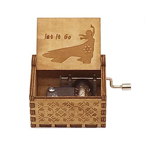 Jsona Frozen - Caja de música con manivela de Madera, diseño de Frozen