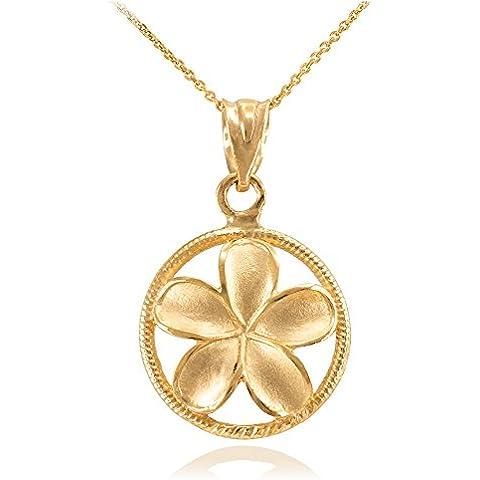 Donne Collana Pendente 10 Ct Giallo Oro Cordata Circolo Hawaiano Plumeria Fiore Fascino (Viene Fornito Con Una Catena Da 45cm)