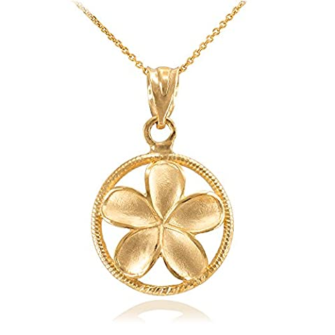 14 ct Yellow Gold Roped Circle Hawaiian Plumeria Flower Charm Pendant Necklace (Comes With an 18