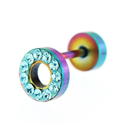 Cristaux de multi sur disque plat de 8MM avec trou Invisible Rainbow anodisé Plug oreille faux en acier chirurgical Bleu clair