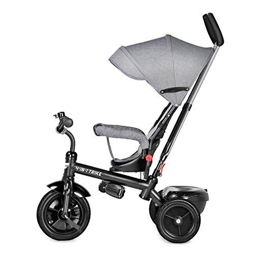 besrey 4 en 1 Tricycle Poussette Vélo Walker Pour Enfant de 12 mois à 72 mois avec le pare-soleil et la tige-poussoir Gris