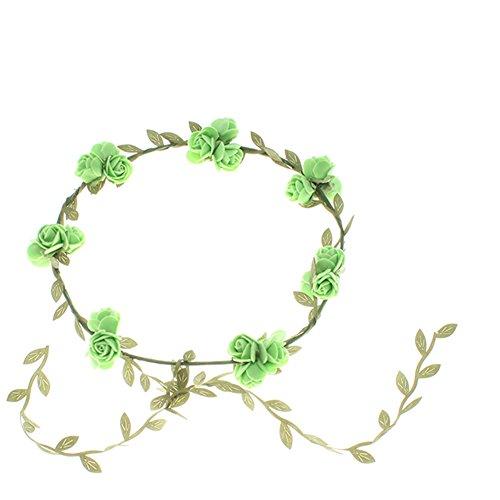 Blumenstirnband Kopfband Kranz von Rosen Braut Brautjungfer Haarschmuck Blumen (grün) (Grün-blumen-stirnband)