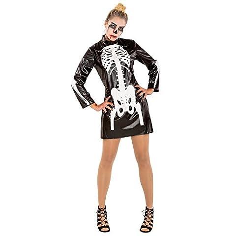 Sexy Skelett Damen Kostüm Halloween Kleid Fasching Fastnacht Verkleidung (S | Nr. 300078) (Halloween Kostüm-ideen Paare)