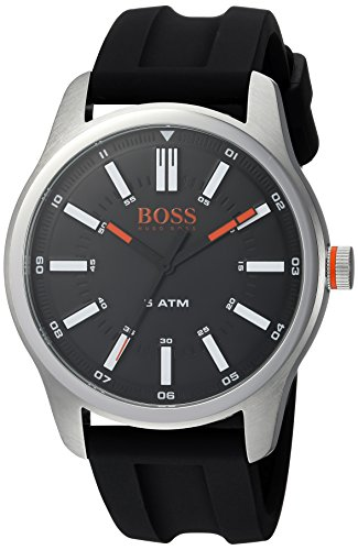 BOSS Orange Men's 'Dublin' Quartz Stainless Steel and Rubber Casual Watch, Color:Black (Model: 1550042)
