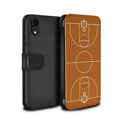 eSwish PU-Leder Hülle/Case/Tasche/Cover für Apple iPhone XR/Basketball Muster/Amerikanisch Sportplatz Feld Kollektion (Basketball Iphone Fall)