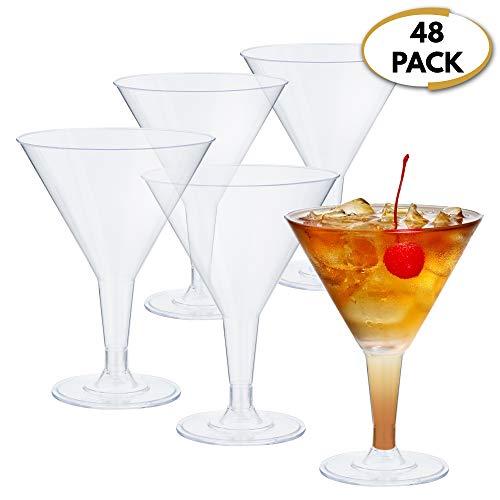 48 bicchieri martini in plastica usa e getta, 70 ml - polistirene trasparente, resistente e infrangibile - riutilizzabile e riciclabile - bicchieri da cocktail per feste, compleanni, feste natalizie