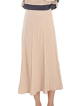 Mujer Elástico Cintura Alta Grande A Line Falda De Punto Midi Plisada Faldas Larga Luz Albaricoque