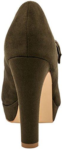 Elara Damen High Heels | Bequeme Spangen Pumps | Riemchen Stilettos Grün Paris