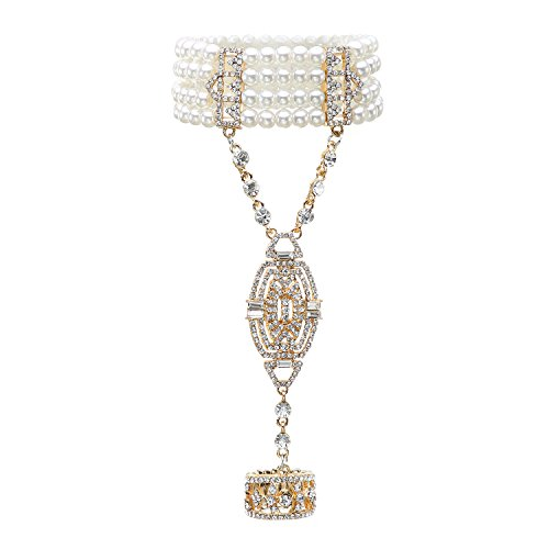 Metme 1920er Jahre Flapper Armband Stretch Armreif Simulierte Perle Kristall Armband Great Gatsby Jewelry Zubehör
