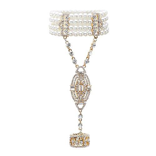 Metme 1920er Jahre Great Gatsby Armband Strass verstellbaren Ring Set Kristalle Nachahmungen von Perlen (Great Für Damen Gatsby-kleidung)