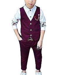 LaoZanA Vestiti Bambino Abiti Cerimonia Bimbo Ragazzo Eleganti  Abbigliamento Matrimonio Gilet E Pantaloni Lunghi Vino Rosso 9668516d7e8