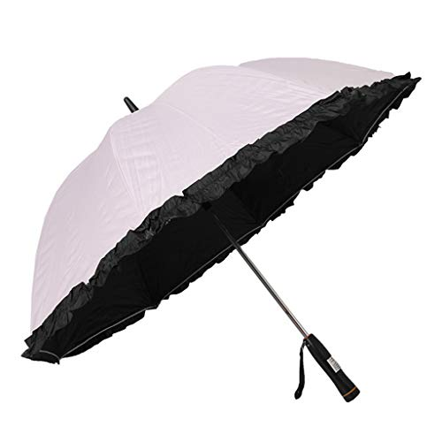 Chunse Winddichter Regenschirm, Damen Spazierstock Regenschirme Geeignet für 1 bis 2 Personen Sonnenschirm mit Lüfter Batterieleistung (Pink)