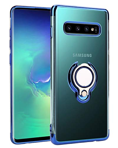 Casetego Compatible Galaxy S10 Plus Hülle,S10 Plus Case,Crystal Clear Car Magnetic Stand Holder 360 Degree Adjustable Ring Kickstand Protection Cover for Samsung Galaxy S10 Plus,Blue Clear Plate Stand