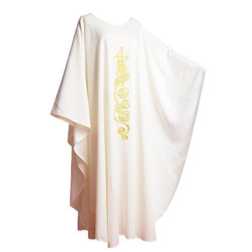BLESSUME Chasuble Kirche Lamm Gestickter Priester Gewänder Kein Kragen Weiß