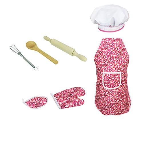 (Tianya 7pcs Chef Game für Kinder Kids Imagination Game zum Kochen mit Kleinkind Rollenspielen Rollenspiele mit Schürze für Mädchen, Kochmütze und weiteres Zubehör)