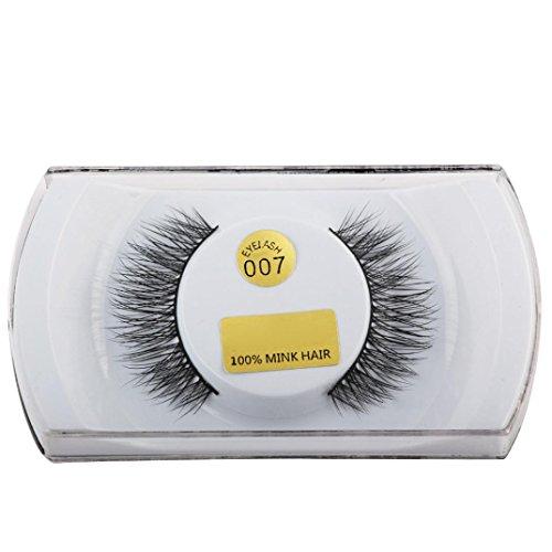 Hunpta 3D Wimpern Mink natürliche Dicke gefälschte Wimpern Auge Wimpern Make-up Erweiterungen (F)