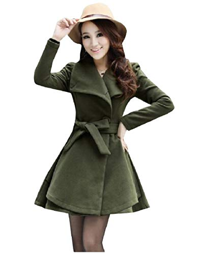 CuteRose Women's Peplum Belt Wool Blends Long Single Breasted Worsted Coat Army Green XL Single Breasted Peacoat