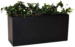 Pflanztrog Blumentrog Raumteiler Fiberglas rechteckig LxBxH 63x28x30cm elegant schwarz-matt