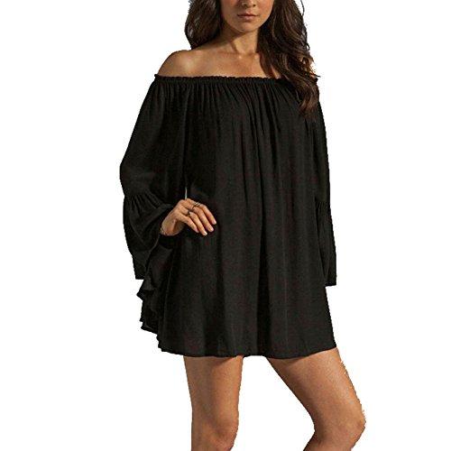 BIUBIONG Femme Sexy Pull Robe Six Épaules Dénudées Lâche d'Epaule Manche Longue Oversize Sweater Mousseline Noir