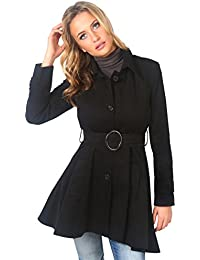 KRISP® Damen Trenchcoat Mantel Lange Ausgestellte Jacke