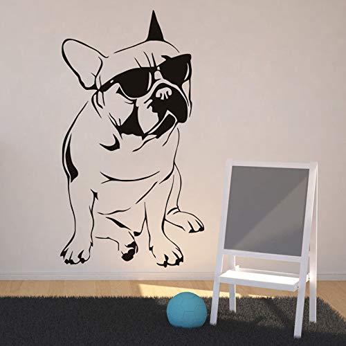 Kunstwand Lustige Tier Wandaufkleber Französisch Bulldog Mit Sonnenbrille Vinyl Wandtattoos Wohnzimmer Abnehmbare Aufkleber Decor Z 59x33 cm