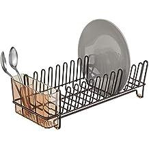 mDesign – Escurridor de platos – Práctico escurreplatos con cubertero – Elegante escurrecubiertos para vajilla con