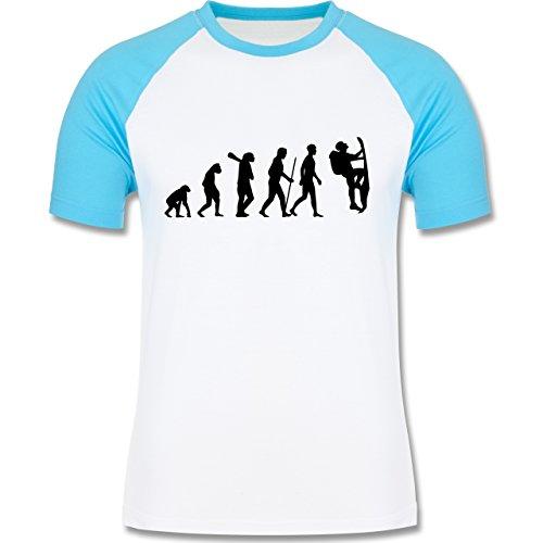Evolution - Klettern Evolution - zweifarbiges Baseballshirt für Männer Weiß/Türkis