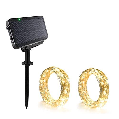 Expower Catene Luminose 2 x 100 LED Luci Stringa IP65 Impermeabile a Energia Solare 20 Metri Striscia Led Illuminazione Decorativa per Giardino Balcone Feste Nozze Party (Bianco Caldo)