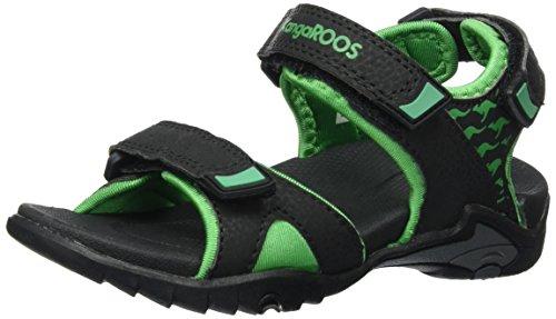 KangaROOS Unisex-Kinder Inclas Sandalen, Schwarz (Black/Simply Green), 37 EU