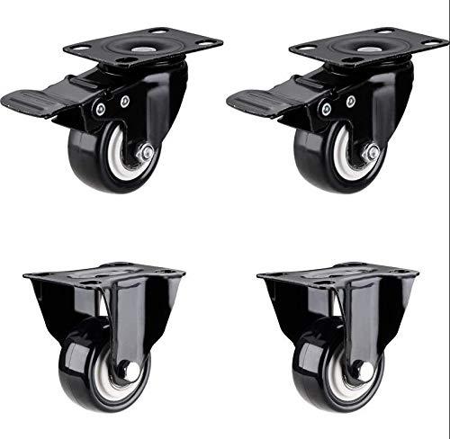 2-Zoll-Flachmöbelschrank Couchtisch Hochleistungs-Universalrad mit Bremse, 2 Lenkrollen + 2 Universalräder mit Bremsrollen - Ellen Seide