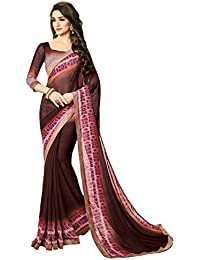 Shangrila Women's Brown Color Georgette Geometric Print & Lace Border Saree