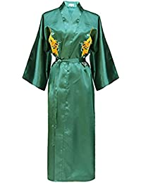 34e0191779 Bon amixyl Men s Dressing Gown Bathrobe Satin Silk Bath Robe Kimono Gown  Dragon Embroidery Yukata Hakma