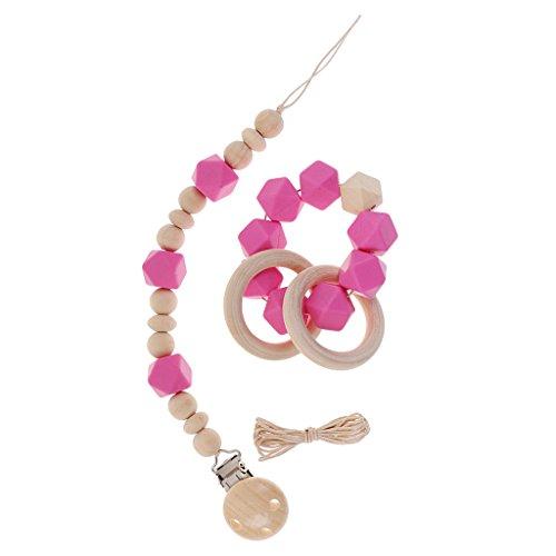 Sharplace Baby Schnullerkette Spielzeug Holzperlen Armband Beißringe Holzperlen Schnullerhalter Spielzeug - Rosa, Wie beschrieben