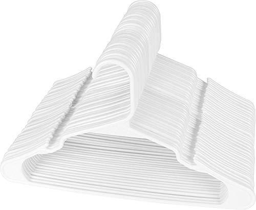 Utopia Home Kleiderbügel - Premium Qualität Standard Kunststoff Kleiderbügel 50er Pack, langlebig und schlank, für Erwachsene 42 cm - Weiß (Viele Kleiderbügel)